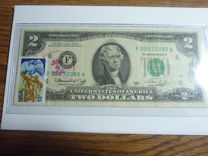 FREE First Day Of Issue Stamp Two Dollar Bill Bicentennial