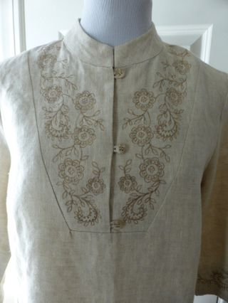 CAROLE LITTLE Shirt Tunic 100% Linen Natural Colored - 3 Button- 3/4 - Sz 4 (S)