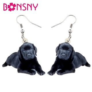 Bonsny Statement Acrylic Lying Labrador Dog Earrings Big Dangle Drop Cute Animal Jewelry For Women