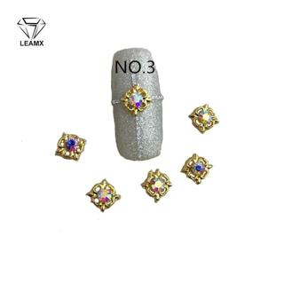 10Psc/Pack A Drill New Style Nail Alloy Jewelry Golden AB Diamond 3d Nail Art Decorations Paste fo