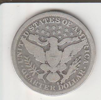Silver 1894-S Far Right S Barber Quarter
