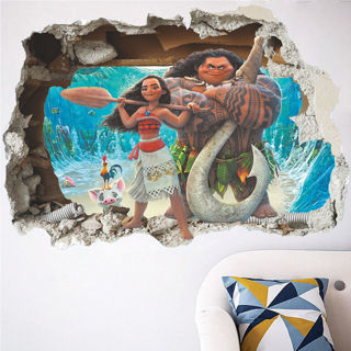 3D Moana & Maui Cartoon Big Wall Vinyl Sticker Vinyl Room Wall Decal Removable