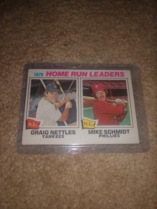 1977 Topps baseball Mike Smith and graig nettles 1976 home run leaders