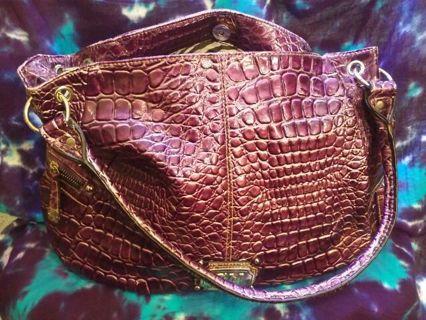 """Big Gia Milani Handbag Purpleish' Faux Reptile Skin"""
