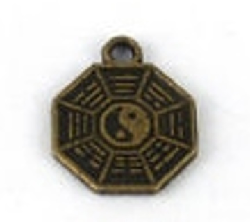 Bronze Bagua Feng Shui Gold coin Yin Yang Chinese Charm