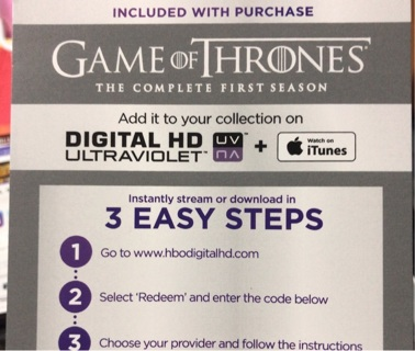 Game of Thrones Season 1 UV digital copy