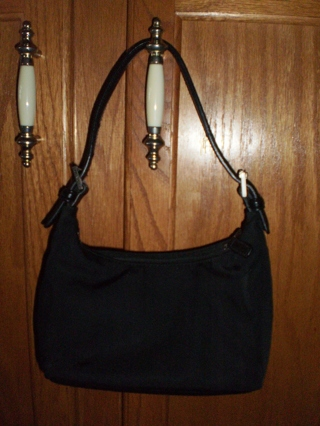 Coach Small Black Twill Fabric Purse Bag With Leather Trim