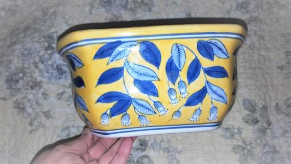 Cobalt and Bright Yellow Ceramic Planter