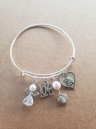 Angel and love, Heart, Pearl, bracelet