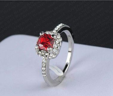 BN Platinum Plated Genuine Austrian Crystal Square Ring