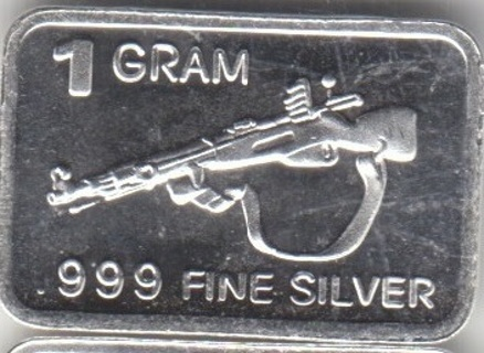 1 Gram .999 Silver Bar with Rifle on face