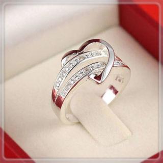 Fashion Women Lady Crystal CZ White Gold Plated GP Engagement Wedding Band Ring
