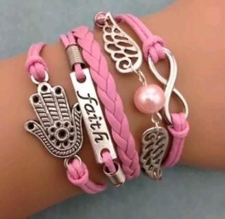 1 infinity leather charmed bracelet