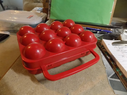 REd plastic egg carrier perfect for camping