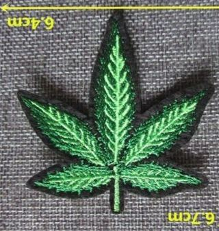 1 NEW GREEN CANNABIS LEAF IRON ON PATCH marijuana pot ganja Applique embroidered FREE SHIPPING