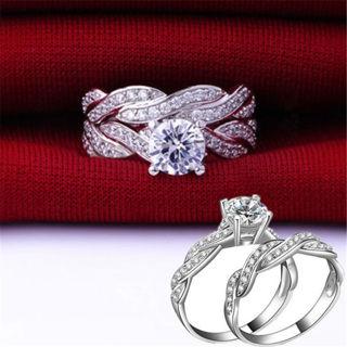 Womens Round Cut CZ White Gold Filled Wedding Ring Set Engagement Band Size 5-11