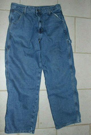FULL BLUE Men's Lined Jeans 32 X 32 100% Cotton Interior & Exterior Warm Winter Wear.