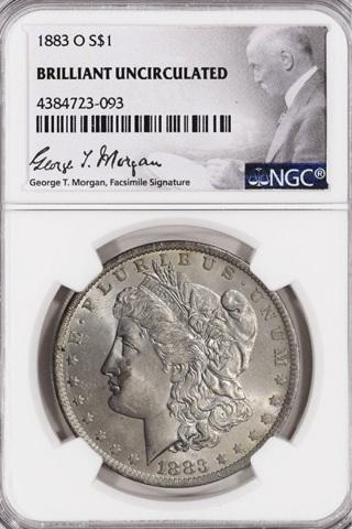 1883 O Morgan Silver Dollar George T Morgan Label BU NCG