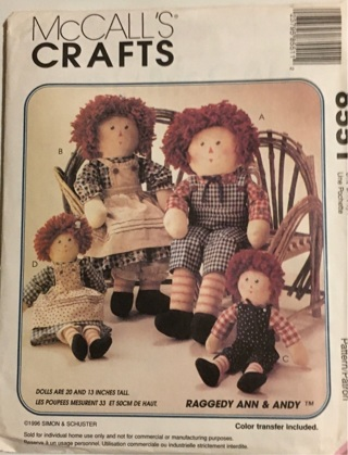 McCALL'S CRAFTS- RAGGEDY ANN & ANDY