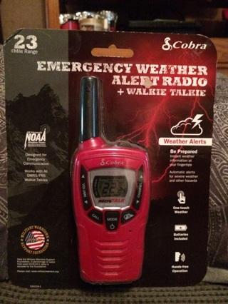 Emergency weather alert radio + walkie talkie