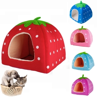 GIN for Free Gift - Soft Cotton Cute Strawberry Dog Cat House Nest