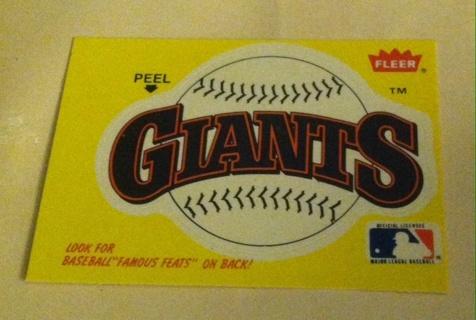 Giants Sticker Card/Read description before bidding