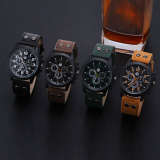 [GIN FOR FREE SHIPPING] Military Leather Waterproof Date Analog Army Quartz Sport Men Wrist Watch