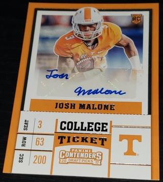 2017 Panini Contenders Draft Picks College Ticket #257 Josh Malone Autograph Card