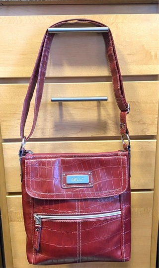 Pre Owned Red Faux Leather Relic Purse