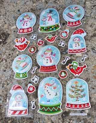 CHRISTMAS SPARKLE VINYL PUFFY STICKERS LOT 2