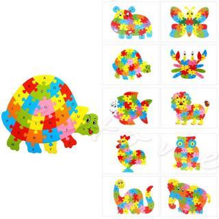 Educational Funny Wooden Blocks Animals Kid Children  Toy Alphabet Puzzle Jigsaw