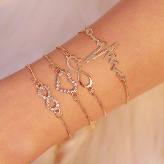 4 Pcs Retro ECG Heart Infinity Bracelets Set Crystal Charm Boho Bangles Bracelets for Women Gold