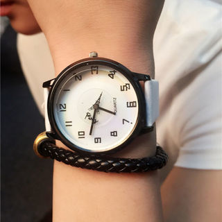 Women Quartz Watch Eiffel Tower Pattern Wristwatch Men Leather Watches