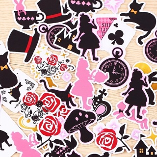 SALE ♥️ Alice in Wonderland Silhouettes Kawaii Sticker Flakes RANDOM Set of 10 BRAND NEW ♥️