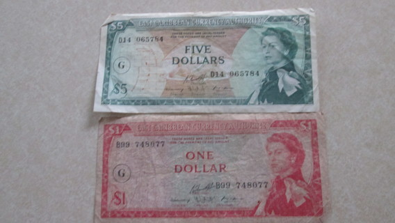 EAST CARIBBEAN CURRENCY. $5 AND $1 DOLLAR