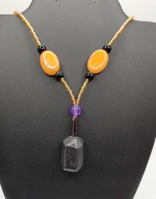 New Real Onyx Quartz Amethyst Beaded Necklace