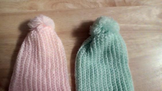 2- Baby Knit Hats (0-6M): EUC