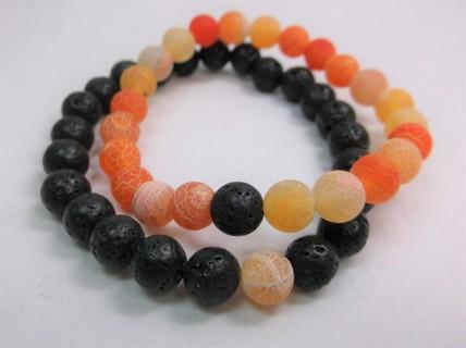 Lava Rock Love Friendship Bracelets - Bright Orange Set