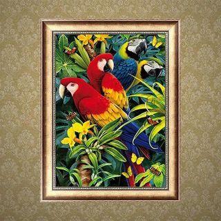 Parrots Flower 5D Diamond Embroidery Painting Cross Stitch DIY Craft Home Decor