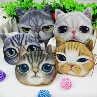 [GIN FOR FREE SHIPPING] Dog Cat Face Zipper Coin Case Womens Pouch Wallet Makeup Purse