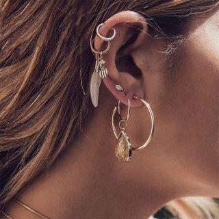 5 Pcs/Set Women Personality Leaf Palm Eyes Gem Geometry Pendant Silver Earrings Set Exquisite Party