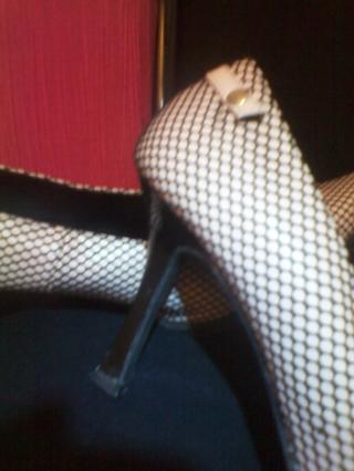 L@@K***Super HOT and UNIQUE!!! *EUC* Pale PINK under Fishnet Heels!!!