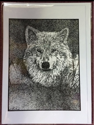 """WOLF FACE - 5 x 7"""" art card by artist Nina Struthers - GIN ONLY"""