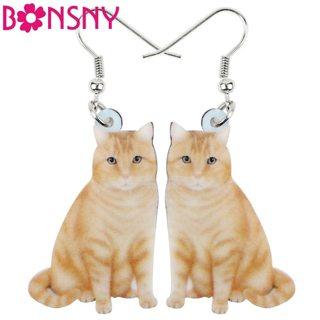 Bonsny Acrylic Orange Cat Kitten Big Long Dangle Drop Earrings Fashion Animal Jewelry For Girls