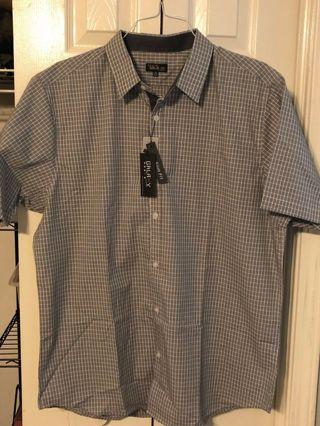 BNWT - Men's XL Slim Fit Plaid Button-Down Short Sleeve Shirt - Galaxy by Harvic