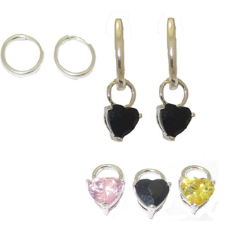 CZ Heart Charms with Hoop Earring 3 Pair NWT