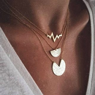 Women Charm Disc Geometry Heartbeat Lightning Pendant Multilayer Gold Clavicle Chain Boho Vintage