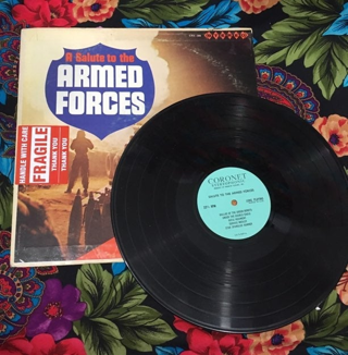 A SALUTE TO ARMED FORCES VINTAGE RECORD ALBUM VINYL FREE SHIPPING