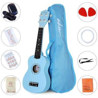 """1 NEW 21"""" Economic Soprano Ukulele Start Pack with Gig bag, Tuner, Blue"""