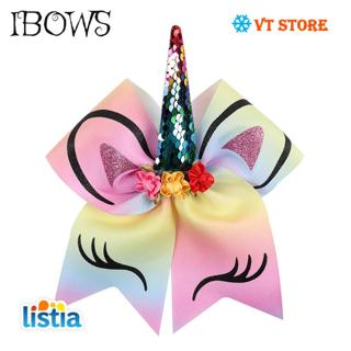 Large Sequin Unicorn Cheer Bows Glitter Print Flower Hair Bow With Elastic Hair Bands